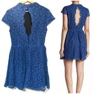 Romeo + Juliet Couture Blue Open Back Lace Dress